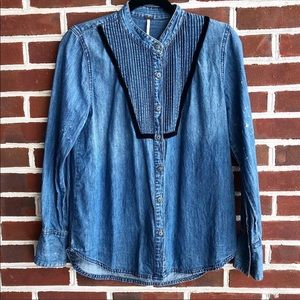 Free People Button Down Chambray Top Size S